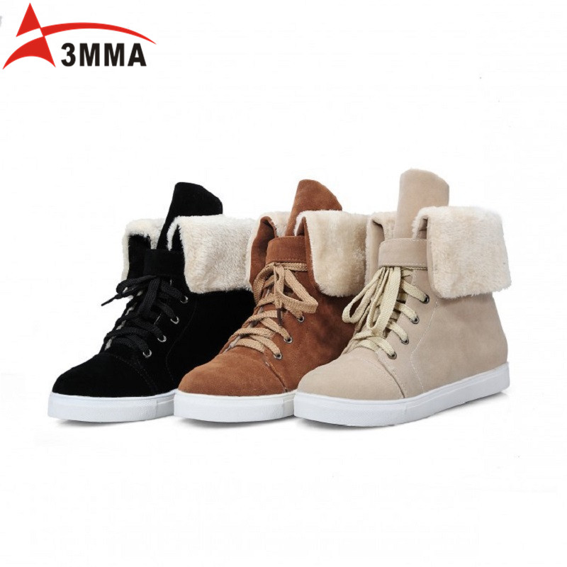 Hot Women Boots Snow Warm Winter Boots Botas Mujer Flat Heel Lace Up Fur Ankle Boot Ladies Winter Autumn Shoes Black Beige Brown ms autumn and winter snow boots warm comfortable wholesale women ladies casual shoes lace up martin boots popular dt548