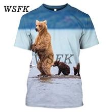 WSFK men and women summer sports short-sleeved T-shirt Russian bear print sweatshirt street clothing