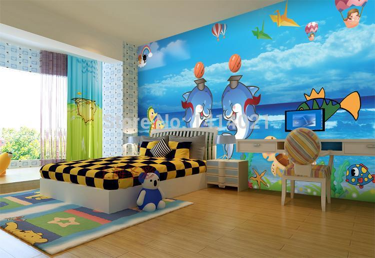 Sitting Room Kids 39 Room Tv Setting Wall Bedroom Wallpaper 3d Photo Wallpaper Lover Dolphins