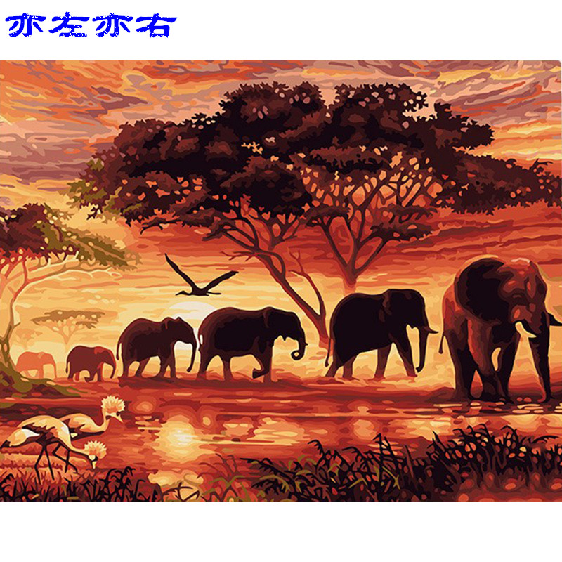 Sunset Elephants Scenery DIY Digital Painting By Numbers Modern Wall Art Canvas Painting Unique Gift Home Decor 40x50cm