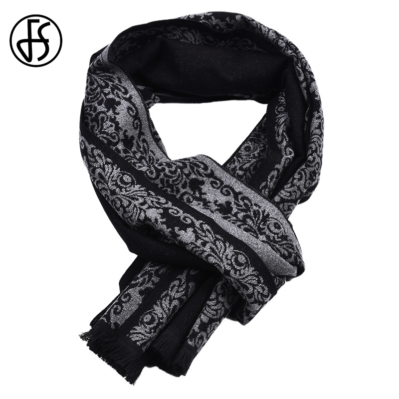 FS Cashmere Scarf Double-Sided Shawl Pashmina-Wrap Tassel Floral Winter Bufanda Long
