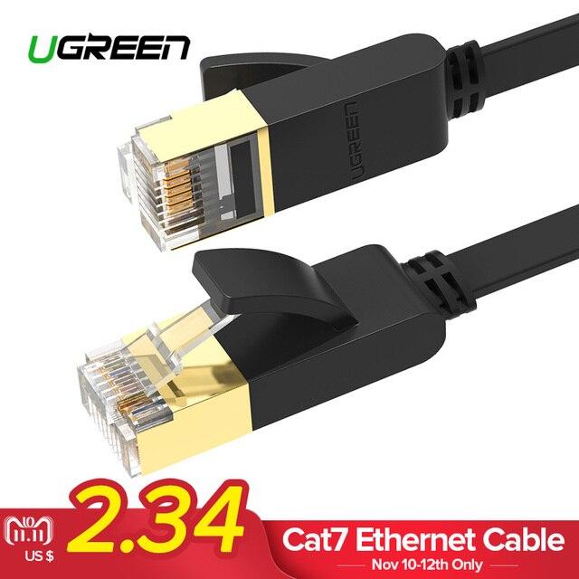 Ugreen Cat7 кабель Ethernet RJ45 Cat 7 сетевой плоский сетевой кабель RJ45 патч-корд 1 м/5 м/ 10 м/20 м для ПК Router ноутбук кабель ethernet