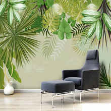 Fresh rainforest plant banana leaf green background professional production mural custom photo wallpaper
