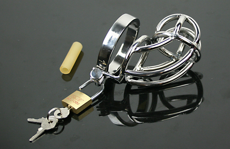 Chastity lock Stainless Steel Padlock Male Chastity Device Cock Cage Fetish Virginity Penis Lock Cock Ring