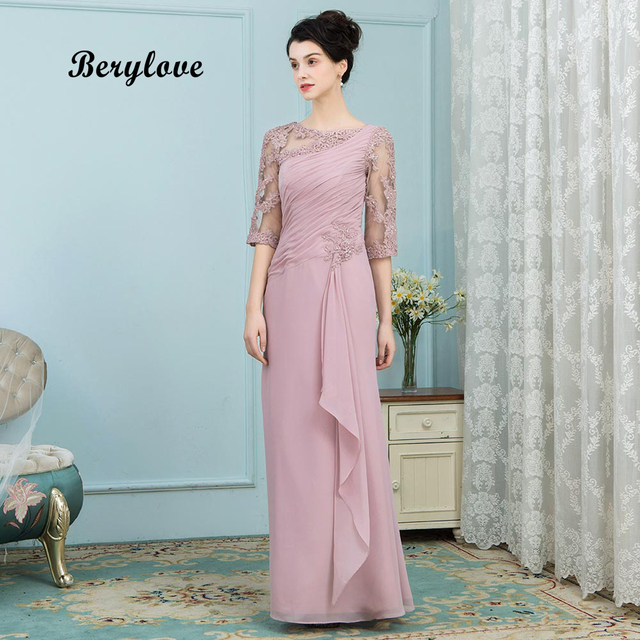 BeryLove 2018 Elegant Blush Mother of Bride Dresses For Wedding Gowns Long Plus Size Mother of Bride Evening Dress With Sleeves