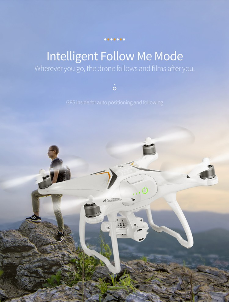 JJRC <font><b>X6</b></font> Remote Control RC Quadcopter Aircus GPS RC Drone Dron Two-Axis Stabilization PTZ Gimbal 1080P UAV <font><b>Follow</b></font> Me Helicopters image
