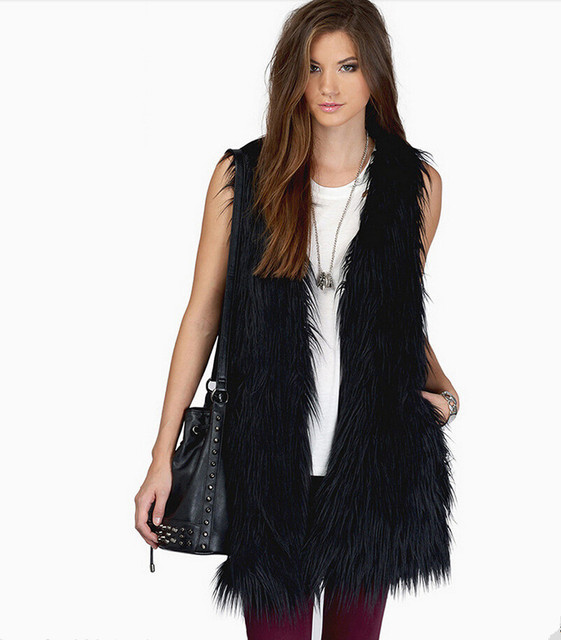 New women faux fox fur vests Black and white elegant ladies belt waistcoats Simple and fashion long sleeveless jacket Plus size