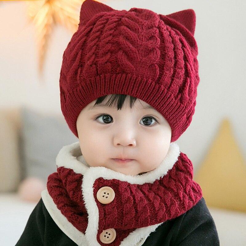 Modestil Rot Farbe Nette Baby Schal Winter Kappen Set Warme Strick Wolle Kinder Kappe Schal Set Charming Kid Schal Mädchen Junge Dick Nette Hüte