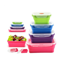 4pcs/set Silicone Lunch Box Folding Food Grade Silicone Container Portable Picnic Fruits Storage Box