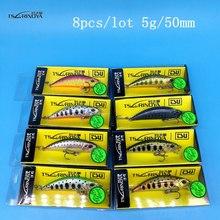 NEW TSURINOYA DW63 8PCS/LOT 50mm/5g Sinking Minnow Hard bait Fishing Lures Mini Crankbait Treble hook Artificial