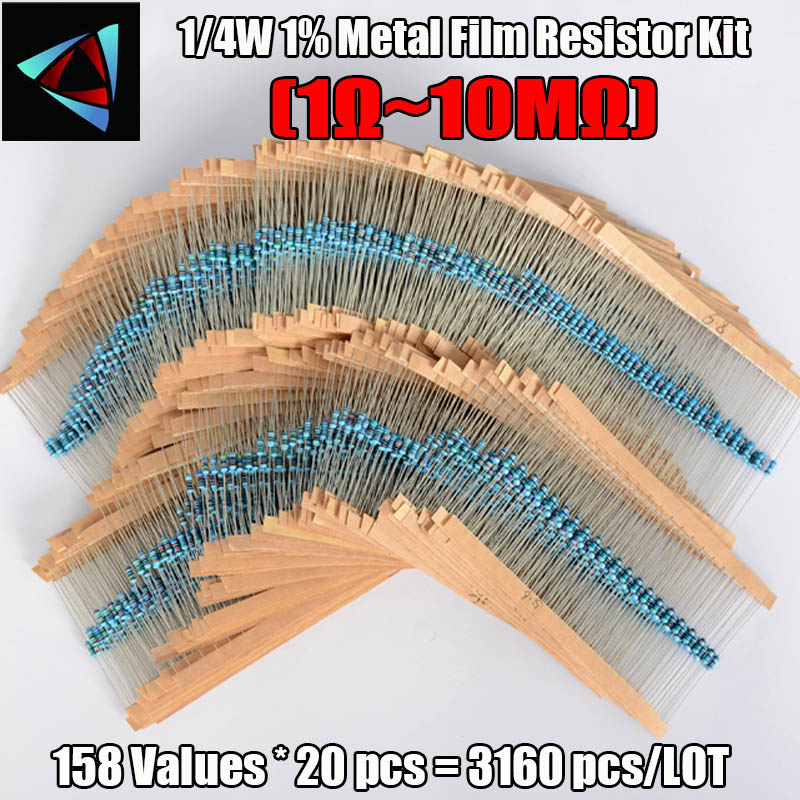 New!158 Values 1ohm~10Mohm 1/4W Resistance 1% Metal Film Resistor Assorted Kit Each 20 Total 3160pcs/pack