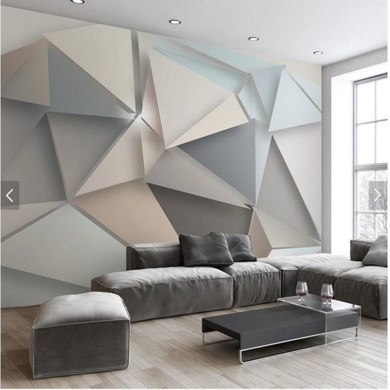 Large 3d stereo triangle modern minimalist style wallpaper for 3d wall designs bedroom
