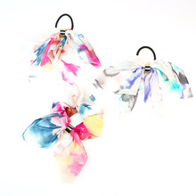 Fashion Chiffon Bow Elastic Hair Ring For Women Vintage Ponytail Holder Tie Rope Rubber Bands Accessories Girl