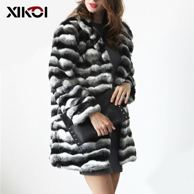 bd254b772 XIKOI Vintage Fluffy Faux Fur Coat Women Long Furry Fake Fur Winter  Outerwear Striped Coat 2018 Autumn Casual Party Overcoat