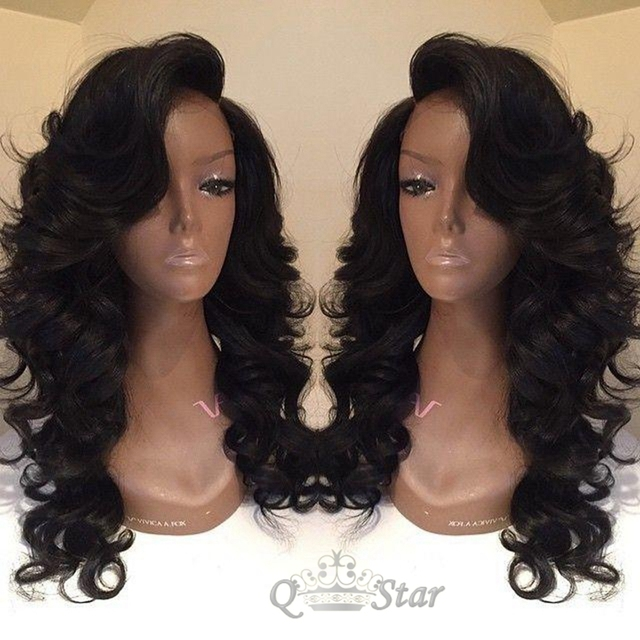 Hotselling loose wave 7A  glueless full lace human hair wigs&lace front wig brazilian virgin hair with baby hair for black women