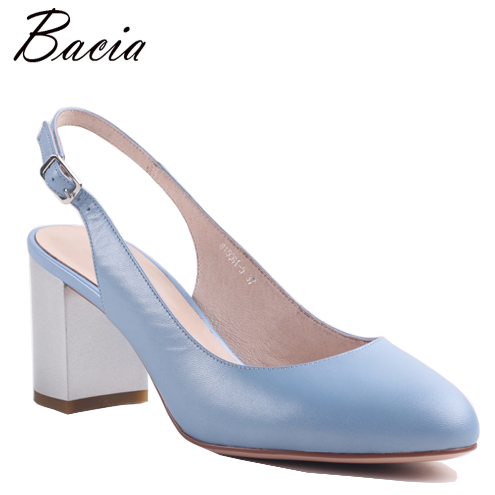 Bacia Sheep Skin Shoes Soft Leather about 7cm Heels For Summer Shoes Women Leisure Handmade Quality Shoes Size 35-40 MWA006 autoprofi авточехлы sheep skin имитац дубл овчины 9 предм 3 молнии т сер св серый разм м 1 5