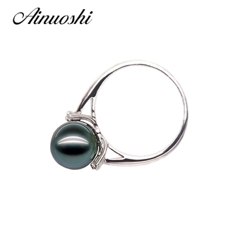 AINUOSHI Custom Jewelry 10mm Black Tahitian Cultured Pearl Ring Engagement Anniversary White Gold Color With Round Cut Sona Ring