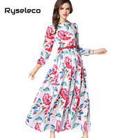 Women Long Maxi Party Dresses Female Spring Fashion Elegant Chic Pleated Floral Prints Holiday Casual Vestidos