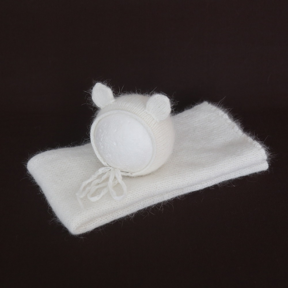 White Silk Newborn swaddle wrap and bonnet set for Photography props Baby stretch Jersey wrap Crochet mohair hat set