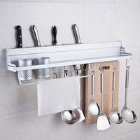 50 cm Długi Aluminium Stojak Przechowywania Kuchnia Spiżarnia Pan Pot Uchwyt Organizator Naczyń Obiadowy Haki Przyprawy Półka ścienna
