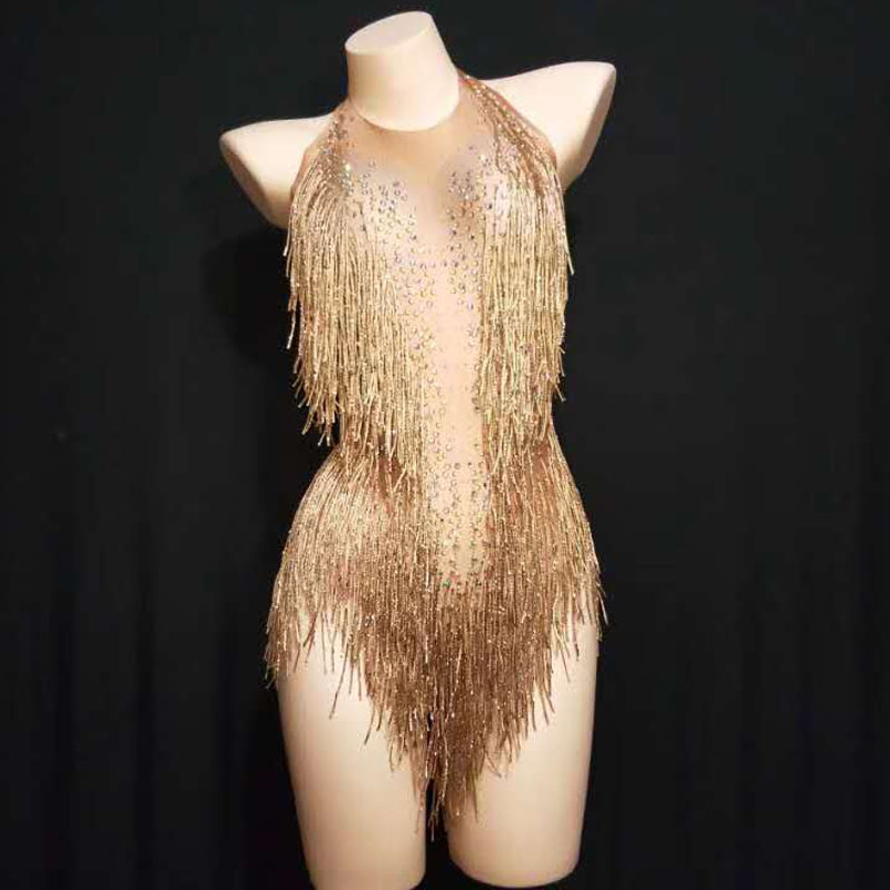 Stage Outfit Bodysuit Evening-Costume Show-Wear Rhinestones-Tassel Spandex Birthday-Party