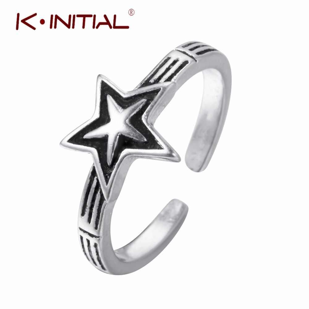 Kinitial Star кольца для суставов палец 925 серебро открытый Давид звезд кольцо двойные крученые украшения для женщин девушка влюбленных подарок