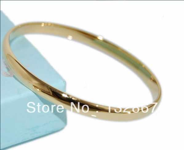 Желтое золото GF браслет гладкой округлые одноцветное 68 мм Диаметр 4 мм Ширина Новый