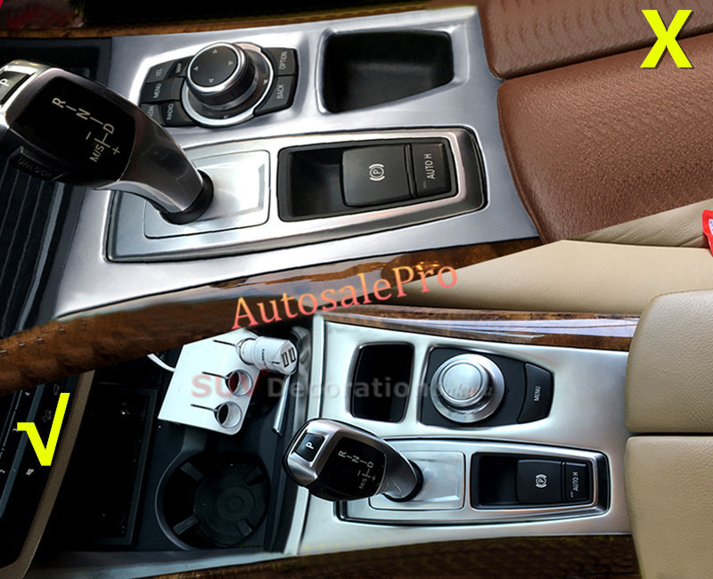 For BMW X5 E70 2007 2008 2009 2010 2011 2012 2013 Stainless Steel Inner Gear Shift Panel Cover Trim 1pcs LEFT hand drive