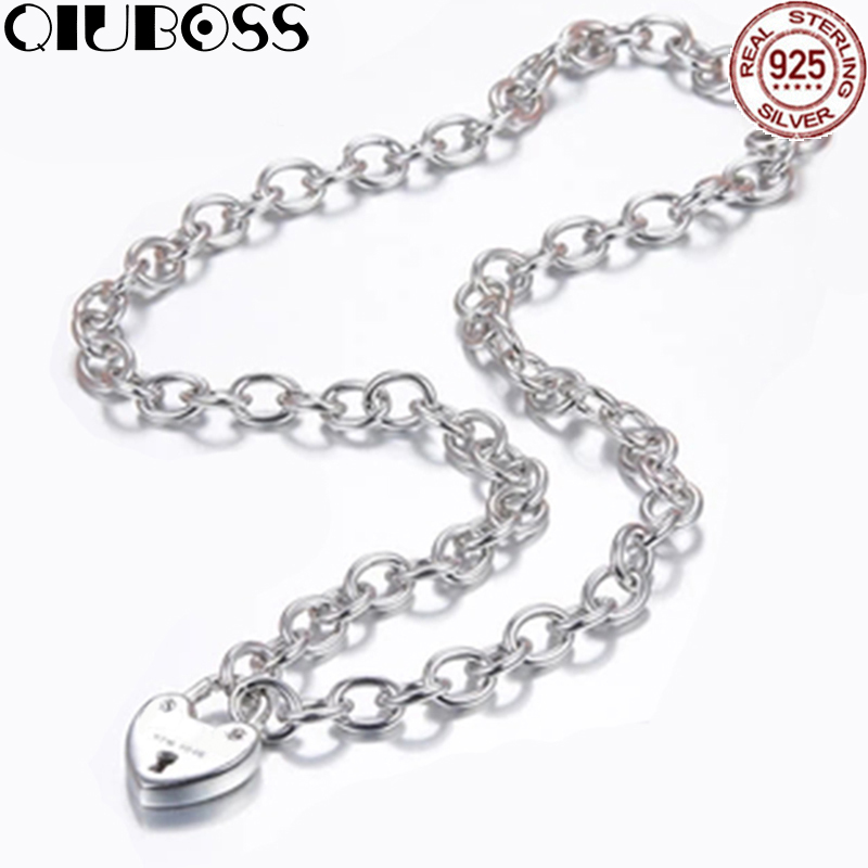 QIUBOSS TIFF 925 Sterling Silver Fashion Heart Necklace Heart Lock Pendant DIY Gift Jewelry qiuboss 925 sterling silver silver heart shaped enamel pendant necklace charm women clavicle diy gift jewelry