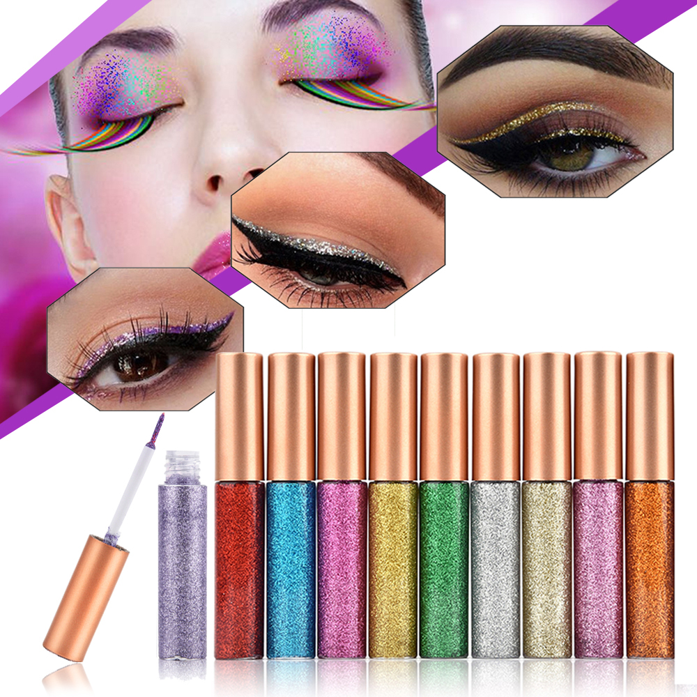10pcs Eyeliner Glitter Set Eye Makeup Liner Waterproof Shimmer Pigment Silver Gold Metallic Liquid Maquiagem Glitters Eyeliner ...