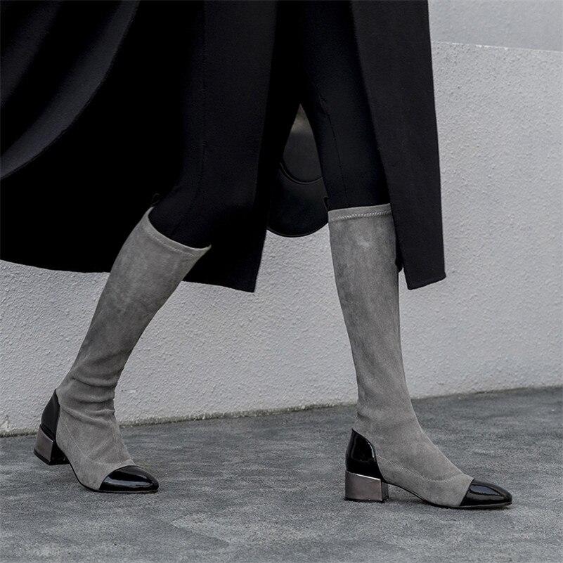 gris Botas Conasco Cálido Otoño Cuero 1 Novedad Mujer La Punta Invierno Para Oficina Zapatos Tacón Hasta Genuino De Altas Cuadrado Negro Rodilla Redonda rBrqwA