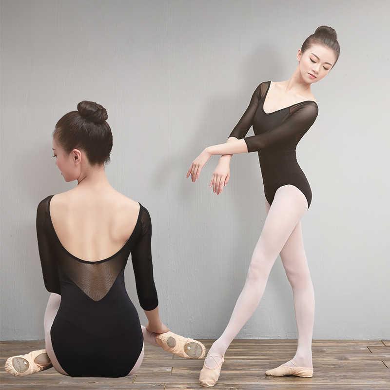 Летние балетные трико для взрослых девочек, хлопок, спандекс, танцевальная одежда, черный 3/4 сетчатый рукав, гимнастический купальник для женщин