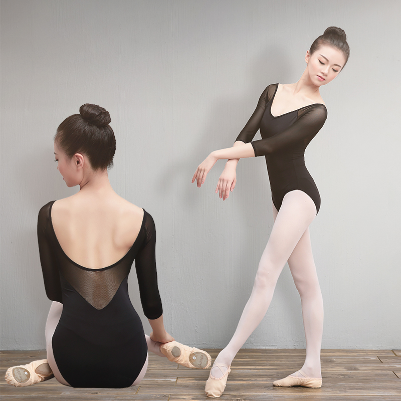 Girls Adult Ballet Leotards Cotton Spandex Dance Wear Black 3/4 Mesh Sleeve Gymnastics Leotard For Women