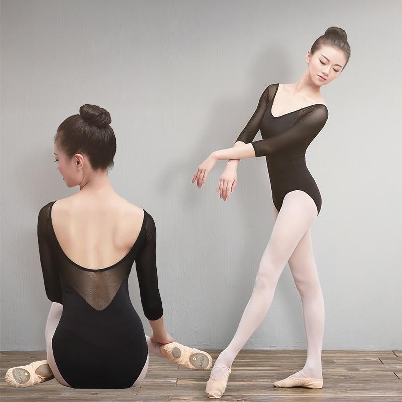 sales-girls-adult-font-b-ballet-b-font-leotards-cotton-spandex-dance-wear-black-3-4-mesh-sleeve-gymnastics-leotard-for-women