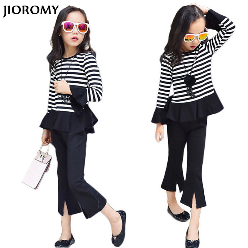JIOROMY Big Girl Clothing Set 2017 Korean Version of The Cotton Striped T-shirt + Slits Pantyhose Pants 2 Pcs Kids Clothes Suits fundamentals of physics extended 9th edition international student version with wileyplus set