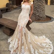 Loverxu Sexy Mermaid Wedding Dress Cap Sleeve Court Train