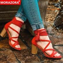 MORAZORA 2019 new arrival women gladiator sandals flock summ