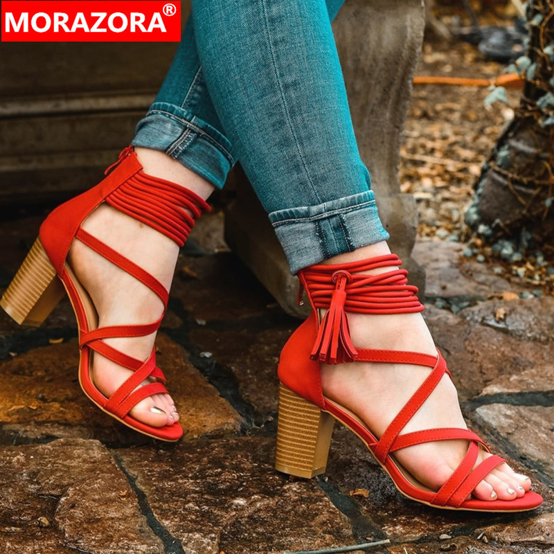 MORAZORA 2019 new arrival women gladiator sandals flock summer shoes rome high heels party prom dress shoes woman big size 48MORAZORA 2019 new arrival women gladiator sandals flock summer shoes rome high heels party prom dress shoes woman big size 48