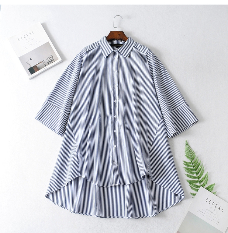 2019 Personality Handsome Three-quarter Sleeve Loose Stripes  Shirt Modis Vadiming Sheining Zaraing Women Blouse Kimono