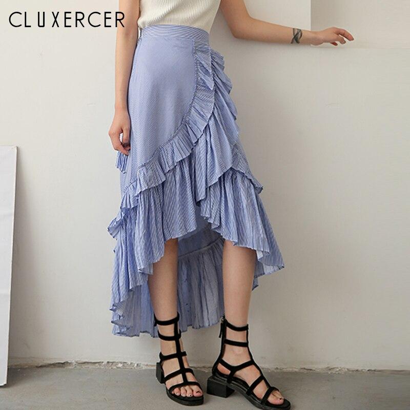 Summer Skirt Women 2019 Fashion Asymmetric Ruffles Mermaid Skirts Casual Striped High Whaist Long Skirt For Ladies
