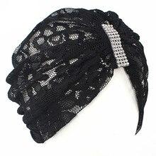 Muzułmanin Rhinestone koronki Stretch kobiet Turban szalik Bonnet Chemo czapki czapki hidżab nakrycia głowy utrata włosów HeadWrap akcesoria