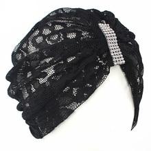 มุสลิมRhinestoneลูกไม้ยืดสตรีTurbanหมวกผ้าพันคอBonnet Chemo BeaniesหมวกHijab HeadwearผมHeadWrapอุปกรณ์เสริม