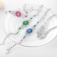Chain Link Bracelet Fashion Jewelry Women Nano Russian Emerald Gems Bracelet 925 Sterling Silver Ruby Sapphire Jewelry Gift
