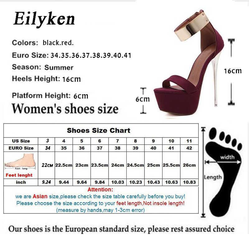 Eilyken 2019 Kadın Sandalet 16 cm Ultra yüksek topuklu Yaz Platformu Pompaları Parti Kulübü ayakkabı Kadın Payetli Gladyatör Sandalet