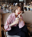 Autumn Women Shirts Striped Full Sleeve 16 F/w Chic Korea Less Vigour D3227 Polo Blouse Shirt Pink 6804