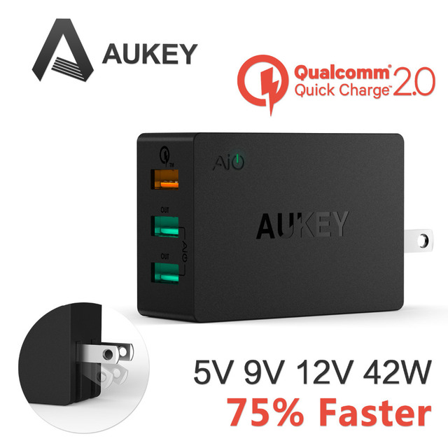 Aukey 42W 3 Port Intelligent Multi USB Quick Wall Charger Quick Charge 2.0 Fast Turbo Charger with Auto Detect For Samsung S6