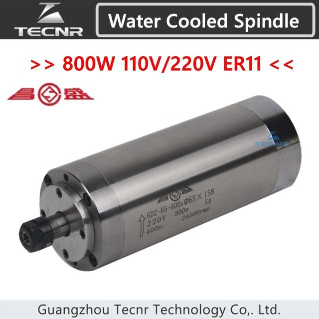TECNR 800W  electric water cooled spindle 110V 220V ER11 with 65MM diameter 158MM length for cnc router