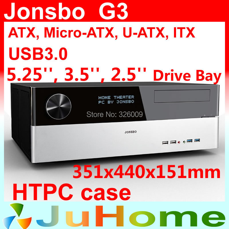 Retail box, free gift 12cm fan, HTPC case ATX, USB3.0, 3.5'' HDD, ATX power supply, Jonsbo G3, other V2, V3+, V4, U1, U2, V6 корпус для пк jonsbo u1 u2 u3 umx1 umx2 itx usb3 0