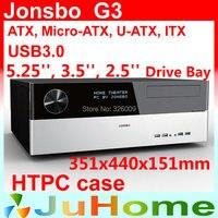 Retail box, free gift 12cm fan, HTPC case ATX, USB3.0, 3.5'' HDD, ATX power supply, Jonsbo G3, other V2, V3+, V4, U1, U2, V6