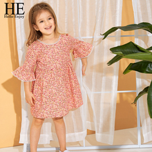 HE Hello Enjoy Girls Dresses 2019 Spring New Childrens Wear Sweet Comfortable Floral Dress Princess Kids Clothes